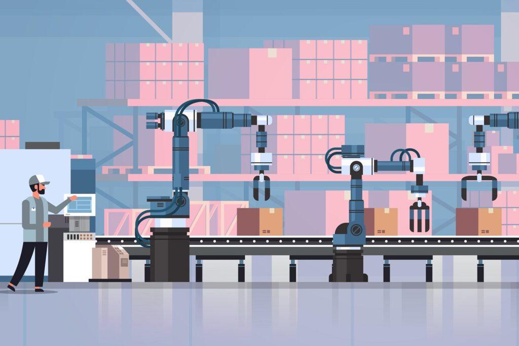 Man,Engineer,Controlling,Conveyor,Belt,Line,Robotic,Hands,Factory,Automation